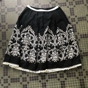 LOFT Skirt with Bead Detail and Pom Poms OO